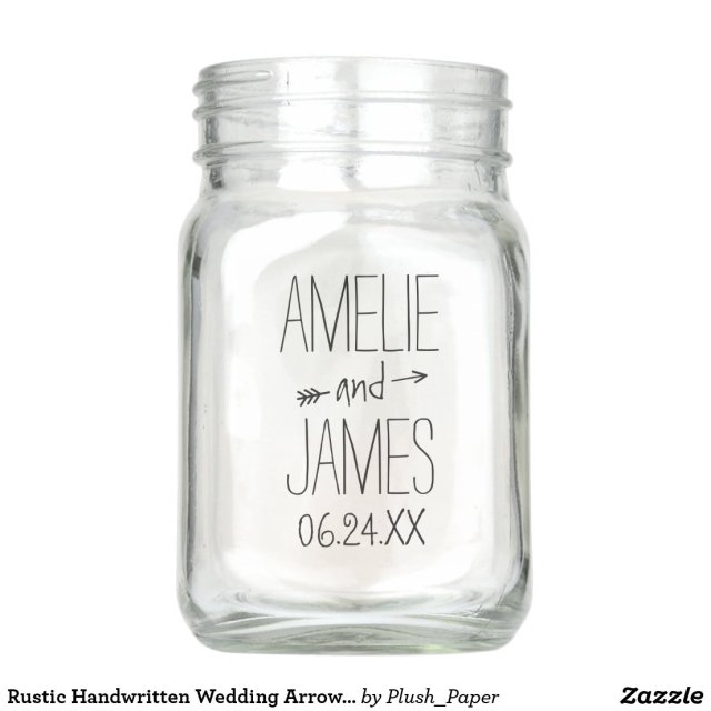 Personalised Wedding Mason Jar | Rustic Monogram