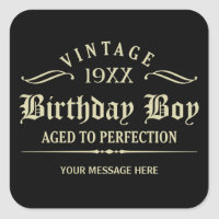 Personalize Funny Birthday Black Square Sticker