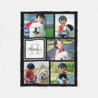 Personalized Photo Collage Monogrammed Fleece Blanket