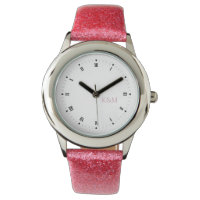 Personalized his and her pink initials wrist watch