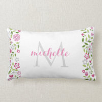 Personalized Floral Monogram Pattern Throw Pillow