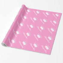 Personalized pink princess crown wrapping paper