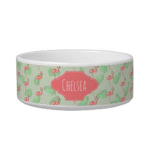 Pet's Girly Tropical Watercolor Flamingo Pattern Bowl