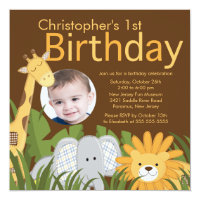 Photo Safari Jungle Animal Kid Birthday Party Card