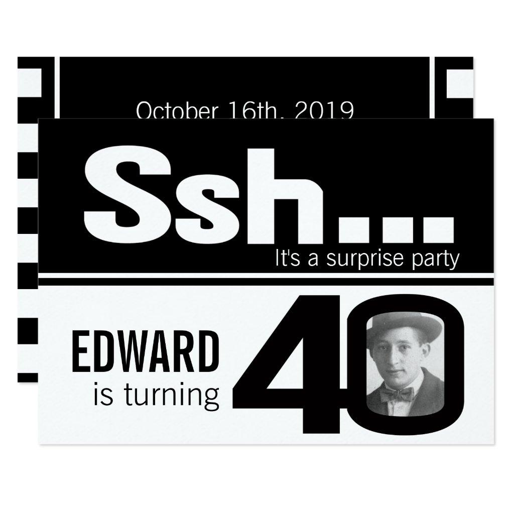 Photo ssh men black white 40th birthday invite