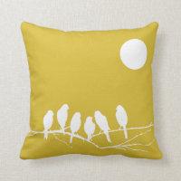 Yellow Bird Print Cushion