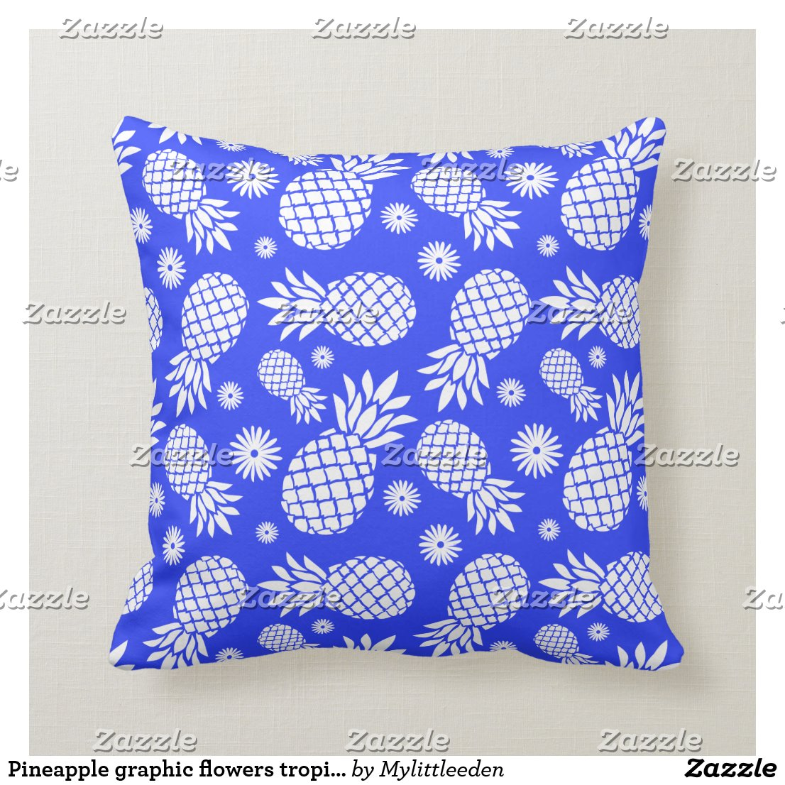 Pineapple graphic flowers tropical blue pillow