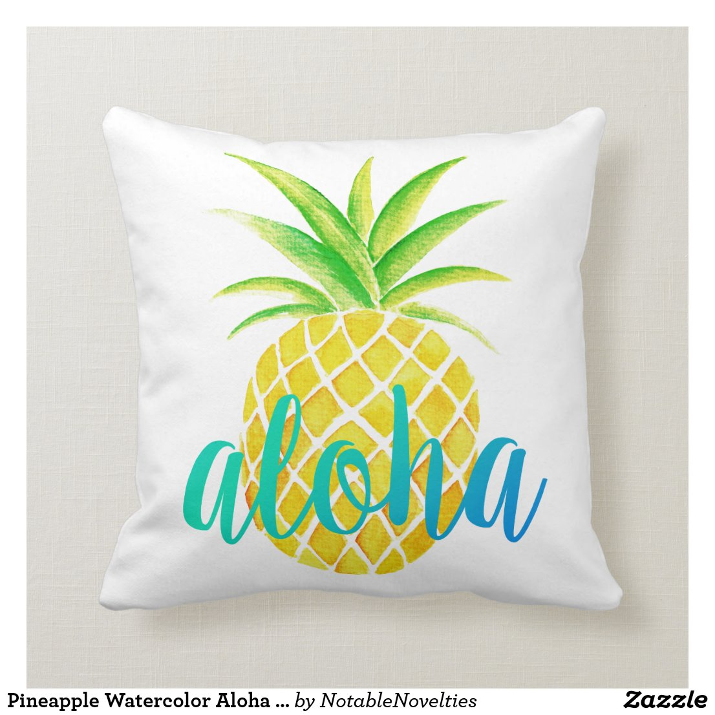 Pineapple Watercolor Aloha Tropical Turquoise Cushion