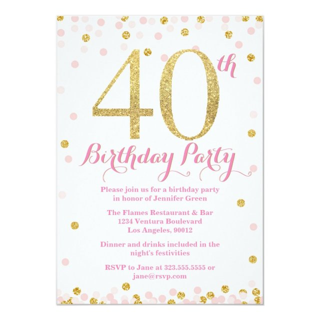 Pink and Gold Glitter 40th Birthday Party Card