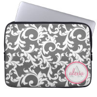 Monogrammed Damask Print Laptop Sleeves