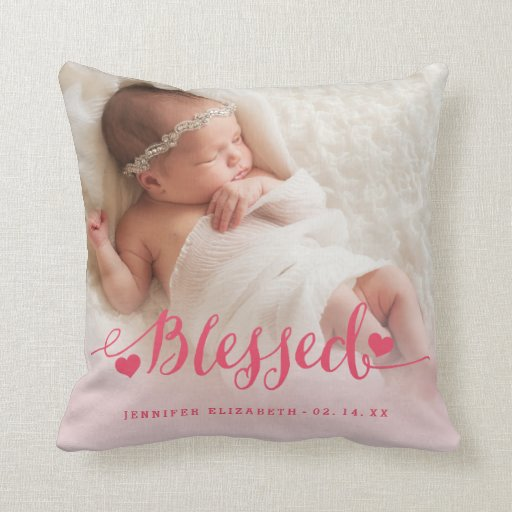 Pink Baby Birth Photo Keepsake Pillow