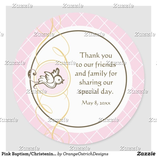 Pink Baptism/Christening Favour Sticker