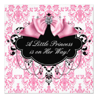 Pink Black Damask Princess Baby Shower Card