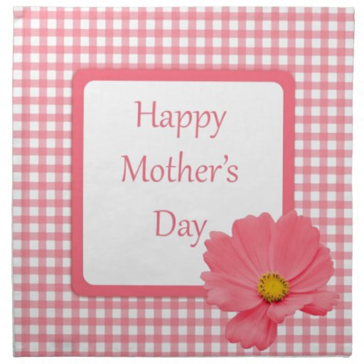 Pink Check Floral Mothers Day Napkins | Zazzle
