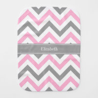 Pink Dk Gray White LG Chevron Gray Name Monogram Baby Burp Cloth
