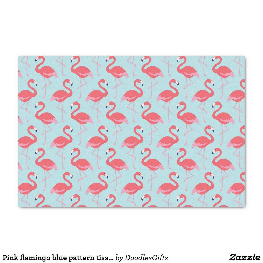 Pink flamingo blue pattern tissue paper