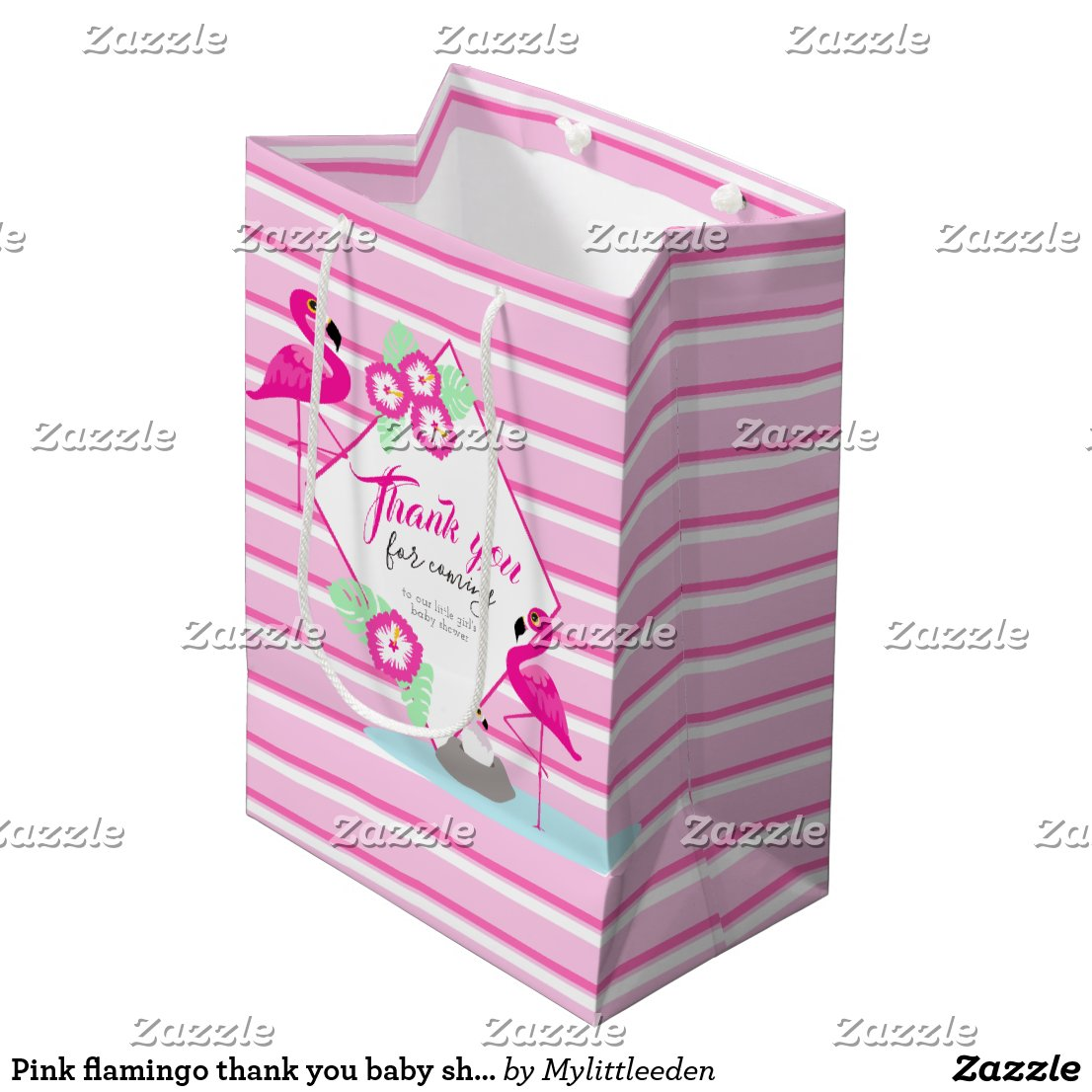Pink flamingo thank you baby shower gift bag