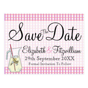 Pink Gingham Lemonade Save the Date Postcard