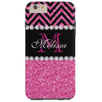 Pink Glitter Monogrammed iPhone Case