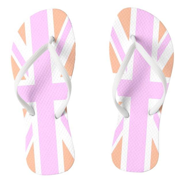 Pink & Orange United Kingdom Flag / Union Jack Flip Flops