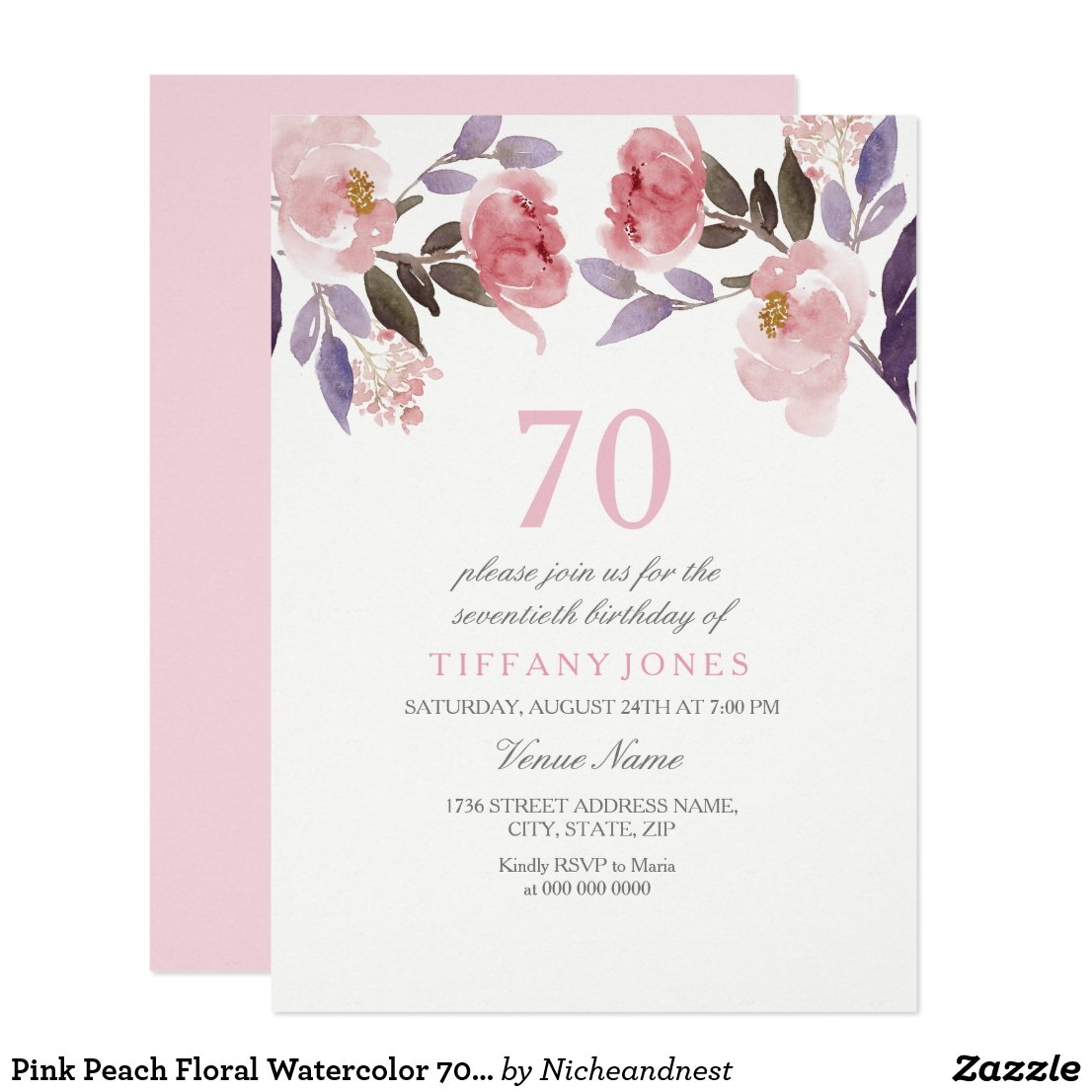 Pink Peach Floral Watercolor 70th Birthday Invite