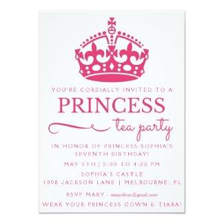Pink Princess Tea Party Birthday Invitations