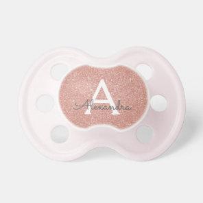 Pink Rose Gold Glitter & Sparkle Monogram Baby Dummy