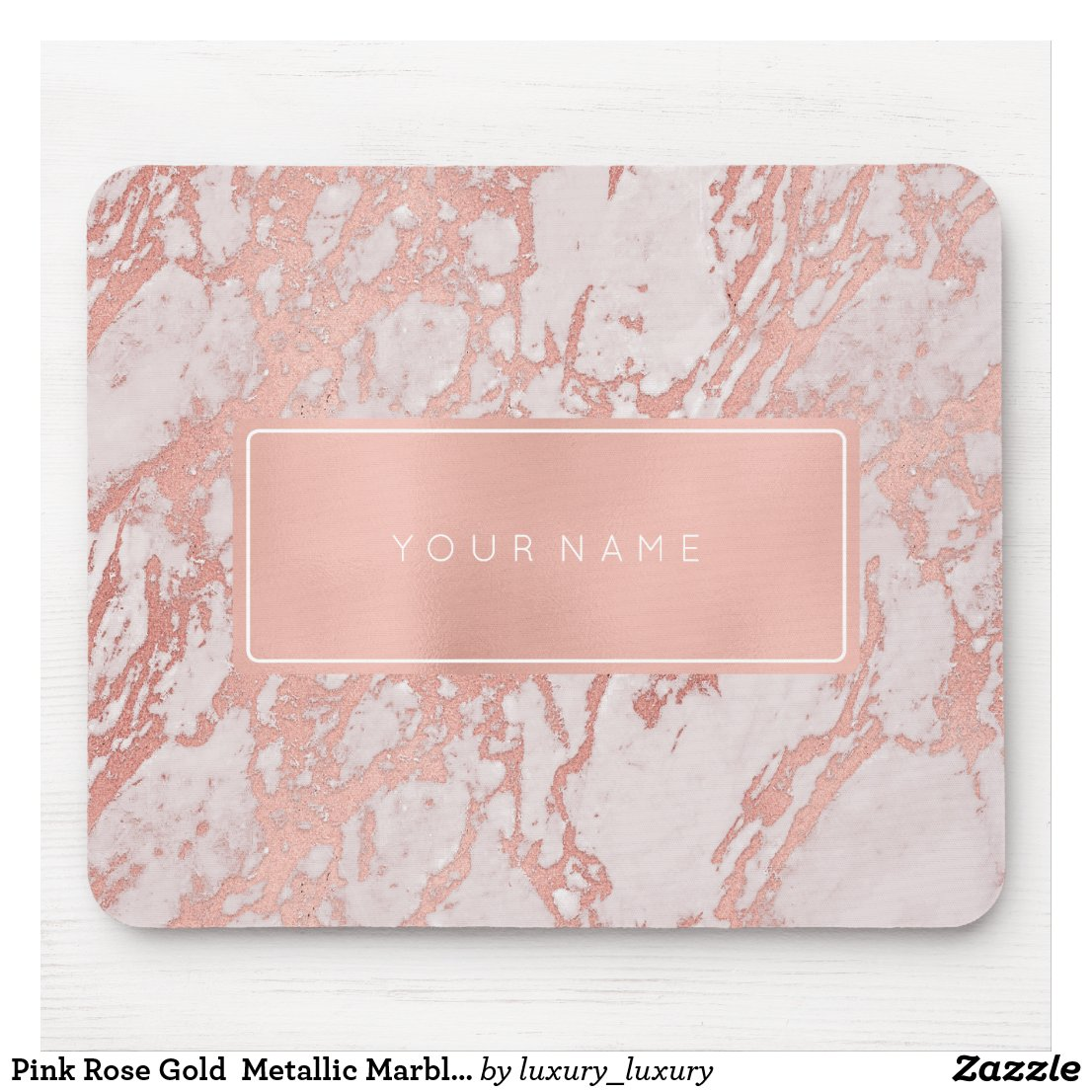 Pink Rose Gold Metallic Marble White Rectangular