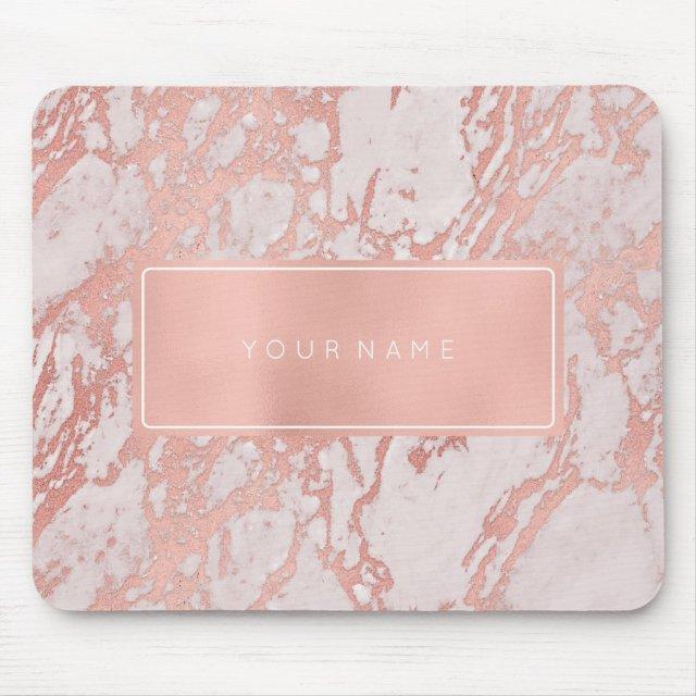Pink Rose Gold Metallic Marble White Rectangular