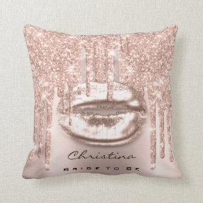 Pink Rose Spark Pastel Mermaid Unicorn Kiss Bride Cushion