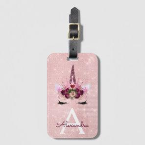 Pink  Unicorn Sparkle Princess Monogram Name Luggage Tag