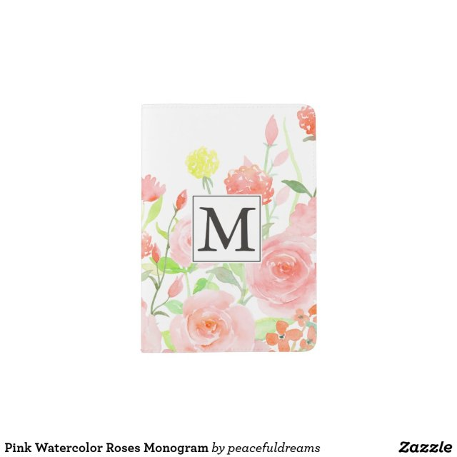 Pink Watercolor Roses Monogram