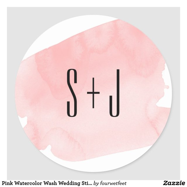 Pink Watercolor Wash Wedding Sticker