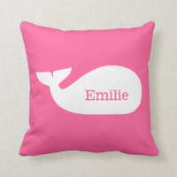Pink Whimsical Whale Personalized Children's Throw Pillow