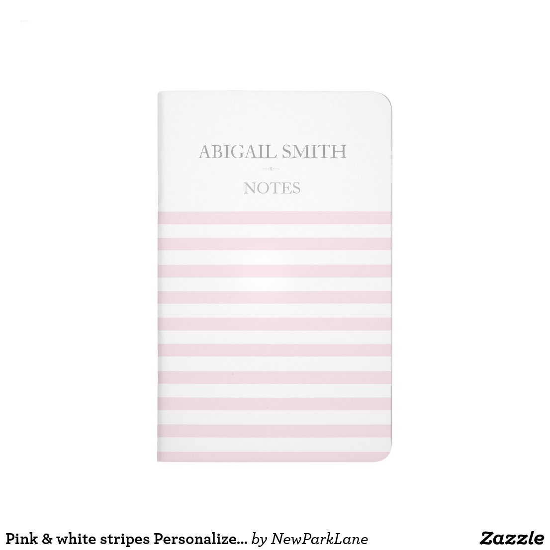 Pink & white stripes Personalised Pocket Journal