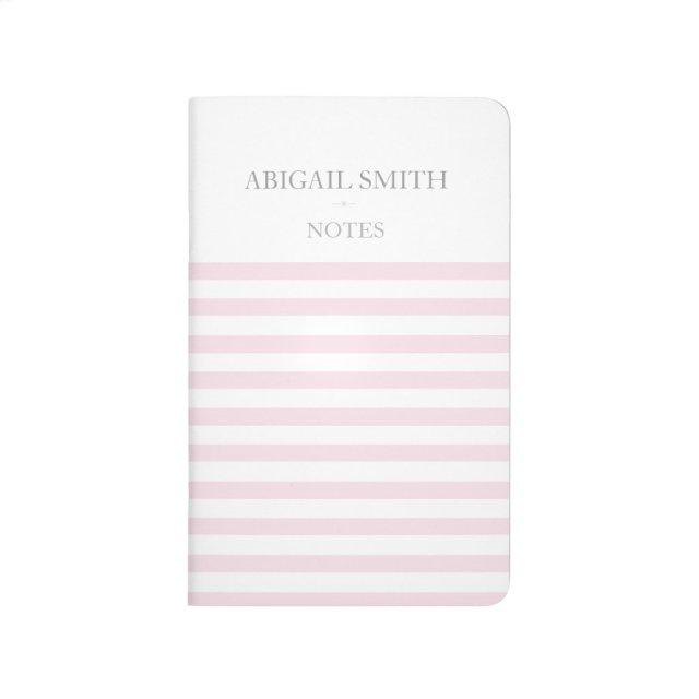 Pink & white stripes Personalised Pocket Journal