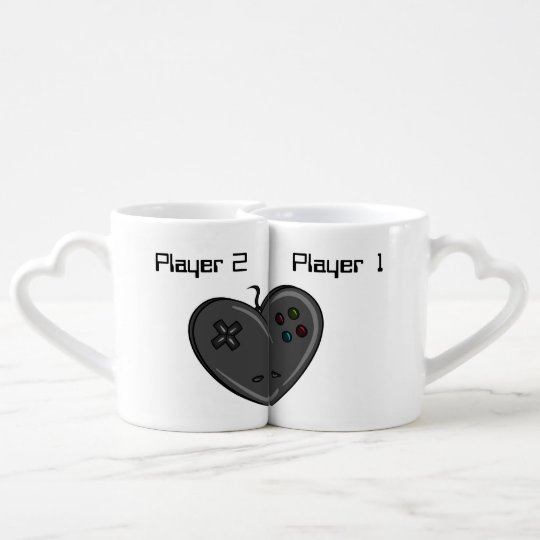 Player 1 & 2 Couple Gamer Heart Coffee Mug Set