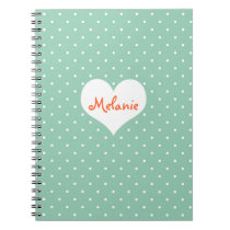 Preppy teal polka dot heart personalized journal