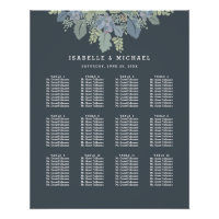 Pretty Blooms Vintage Garden Wedding Seating Chart Poster