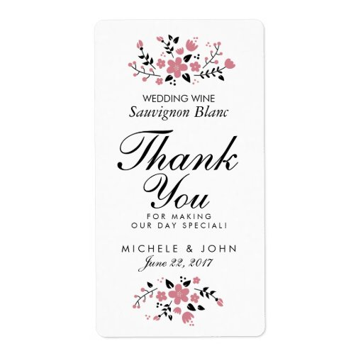Floral Wedding Wine Label