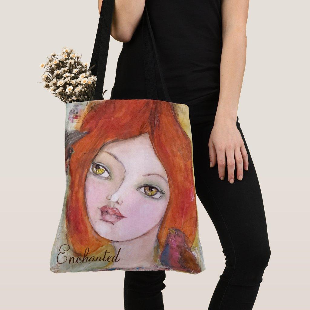 Pretty Girl Whimsical Artistic Green Orange Cute Tote Bag