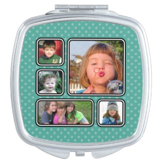 Pretty Little Polka Dots Photo Collage Compact Mirror