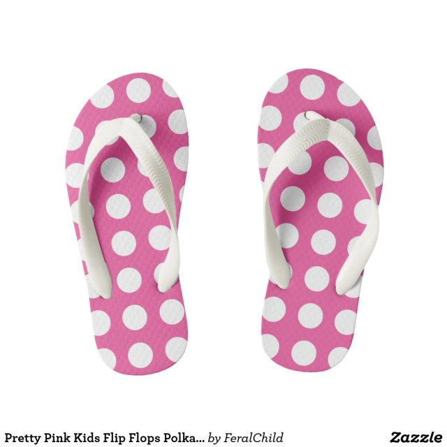 Pretty Pink Kids Flip Flops Polka Dot