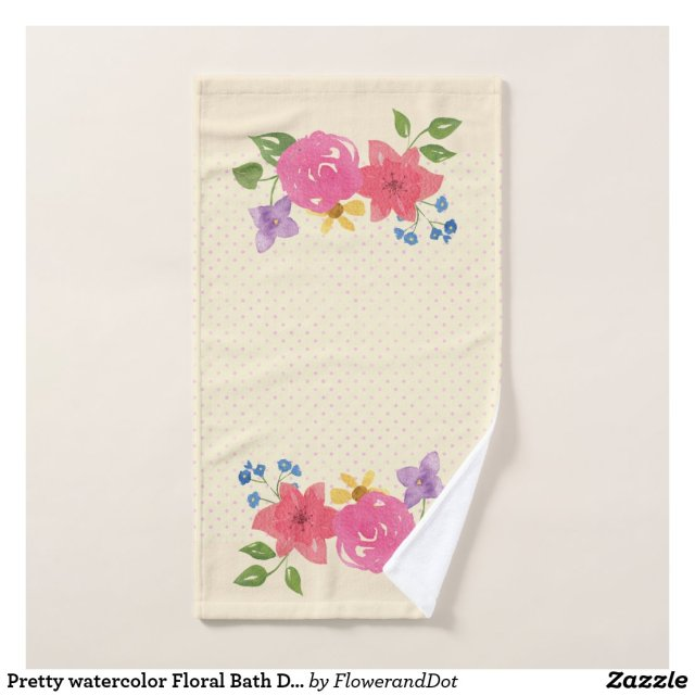 Pretty watercolor Floral Bath Decor-Hand Towel