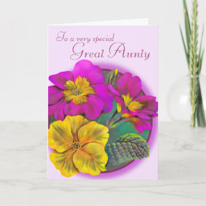 Primula Great Aunty pink purple birthday card