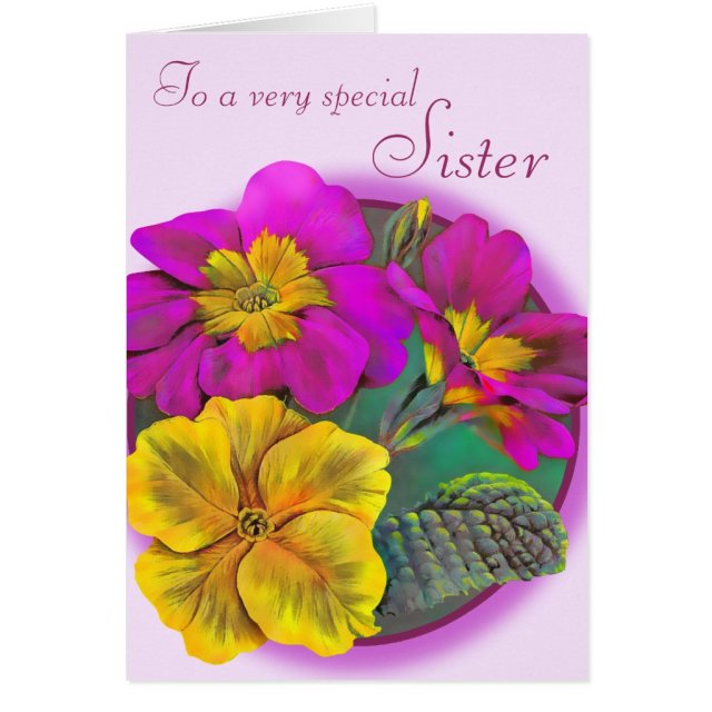 Sister floral birthday card