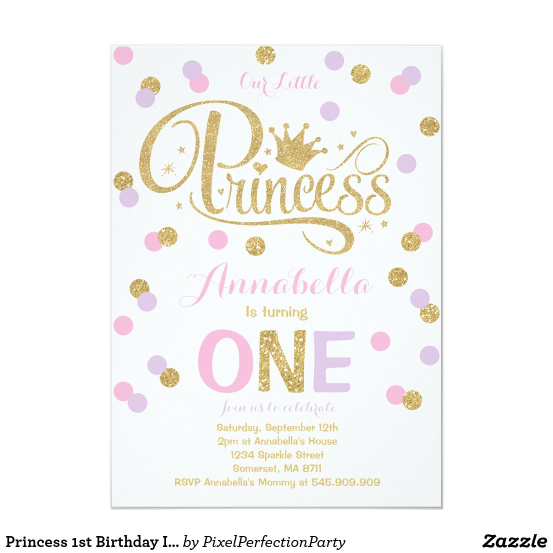 Princess 1st Birthday Invitation Pink Purple Gold