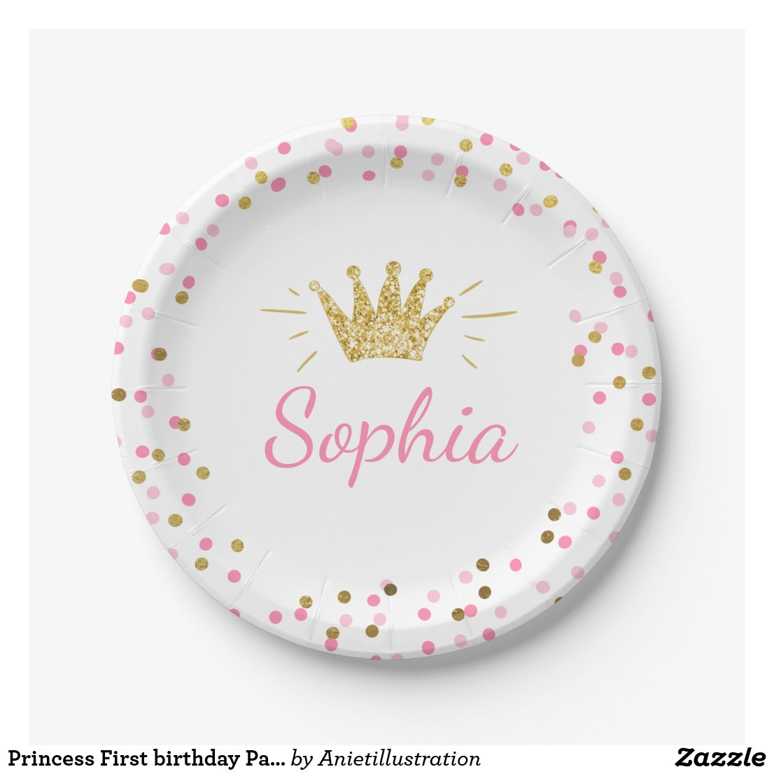 Princess First birthday Paper Plates Pink Gold