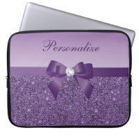 Printed Purple Sequins, Bow & Diamond Laptop Sleeves