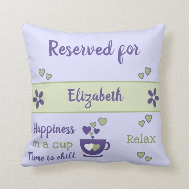 Purple and green relax coffee cup reserved for cushion